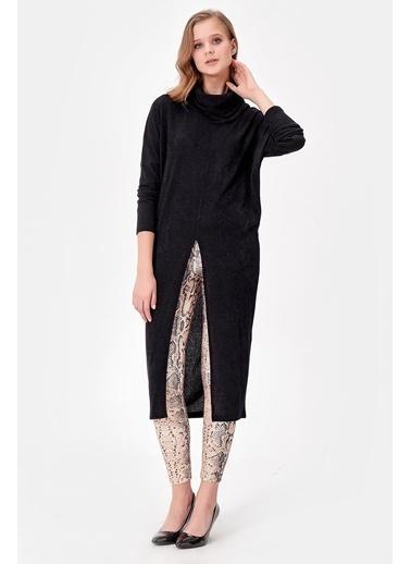 Jument Uzun Kol Önü Yırtmaçlı Tunik Siyah
